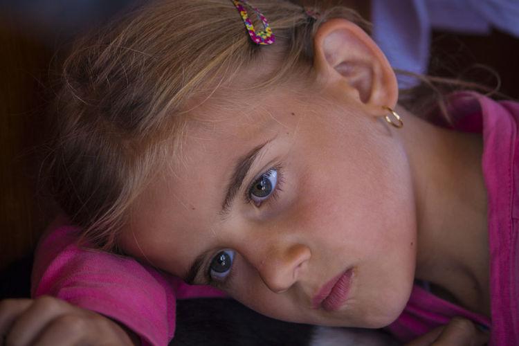 Child Childhood Close-up Girls Headshot Indoors  One Person Portrait