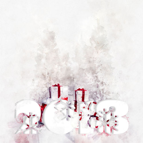 2018 Year. Christmas trees with heap of gift boxes. Digital watercolor painting. 2018 2018 Year Celebration Christmas December Holiday January New Year Winter Art Calendar Celebration Event Christmas Decoration Design Digitally Generated Image Digits Gift Boxes Happy New Year Illustration No People Numbers Snowflakes Symbol Watercolor White Background