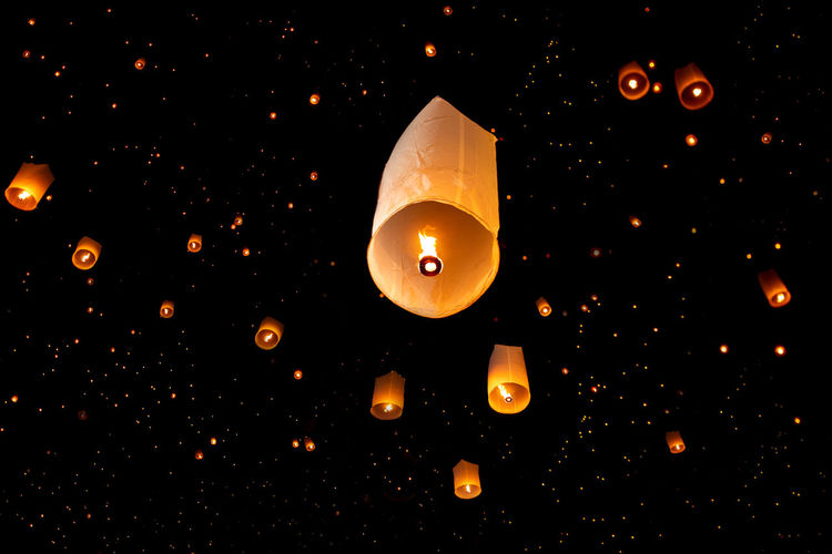 Unfounded on Yi Peng festival and Loy Krathong day. Chiang Mai,Thailand. Close-up Dark Night Unfounded Festival Thailand Celebration Beautiful Backgrounds Art Sky Orange Color Culture Covering Light High Angle View Floating On Water ASIA Burning No People Paper Lantern