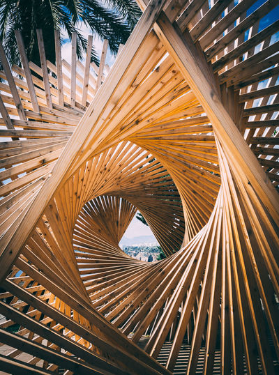 Wooden structure in tunnel shape. a look through long tunnel design. perspective.
