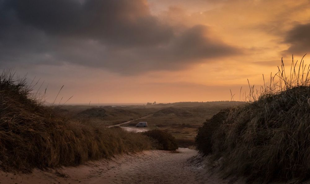 Sky Tranquility Nature Scenics Tranquil Scene Landscape Beauty In Nature Cloud - Sky Sunset Outdoors No People Sand Grass Beach Yellow Sky Yellow Color Dramatic Sky Hvide Sande Danmark Natur