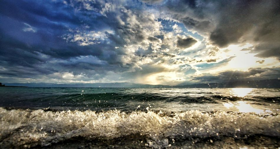 --Waves-- Macedonia Ohrid Lake Lake View Ohrid Lake Beauty In Nature Sunset Dramatic Sky Cloud - Sky Horizon Over Water Cloudy Weather Waves