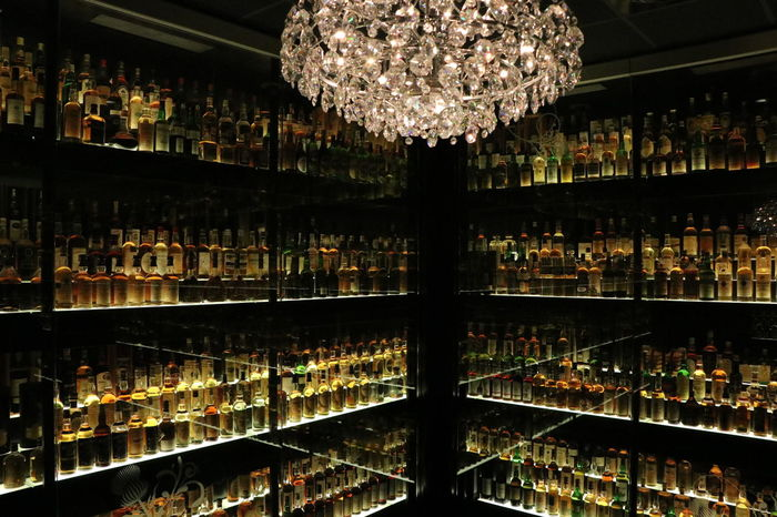 world's largest whiskey collection Whiskey Collection LargestintheWorld Collection Bottles Collection EyeEmNewHere Travel Destinations Destination Stories From The City Scotland City No People Edinburgh Shelf Illuminated Decoration