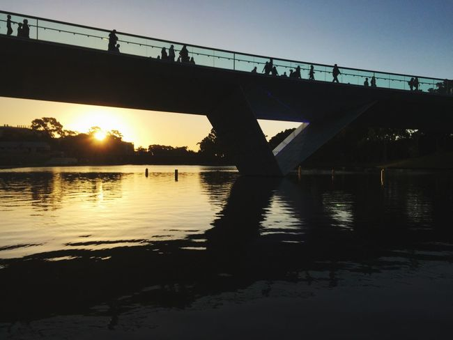 Adelaide, South Australia Sunset Reflection Footbridge Bridge River Torrens River Riverside Photography