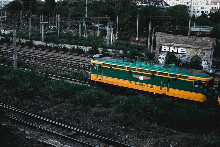 High angle view of train at railroad tracks