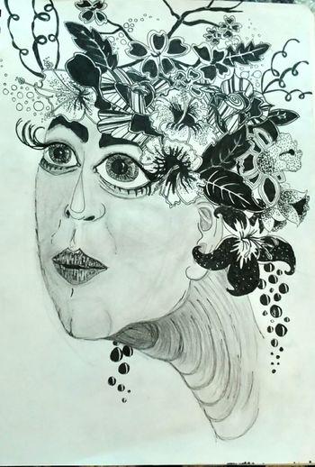 There is always a 'Plan B' Flowers Flowersinyourhair Pen Penandink From My Sketchbook Mydoodle Bigeyes ArtWork