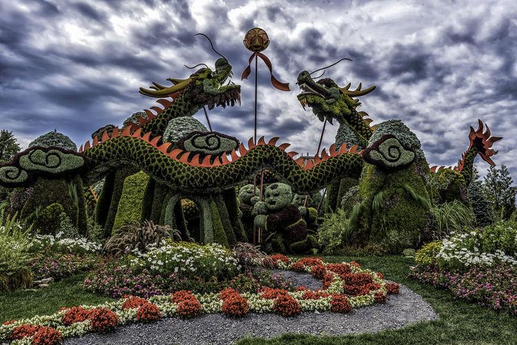 Canada150 Dragon Gatineau Ontario Ottawa Quebec Canada Flowers Mosiac Sculpture