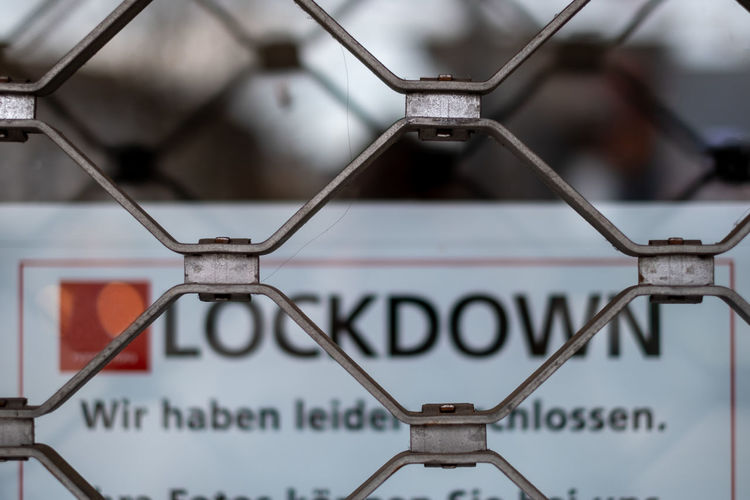 Close-up of sign on metal