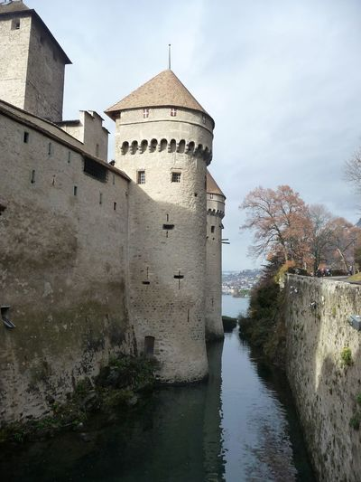 Castle Tower WaterCastle View  Built Structure Reflection Architecture Building Exterior Sky Tree No People Day Outdoors Nature Geneve Adapted To The City The City Light