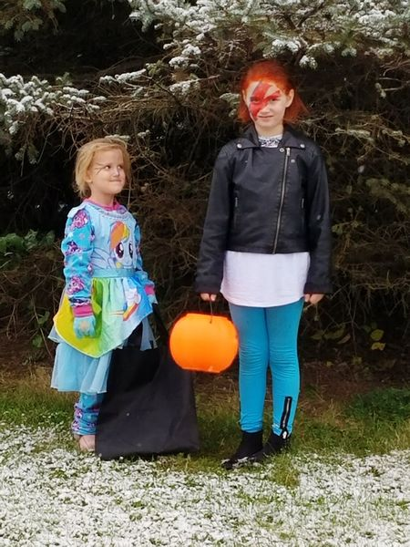 David Bowie and the Magic Pony Halloween Two People Full Length Girls Pumpkin Looking At Camera Togetherness Outdoors Pony Rainbow Tree Green Color Bowie White Snow ❄ Friendship