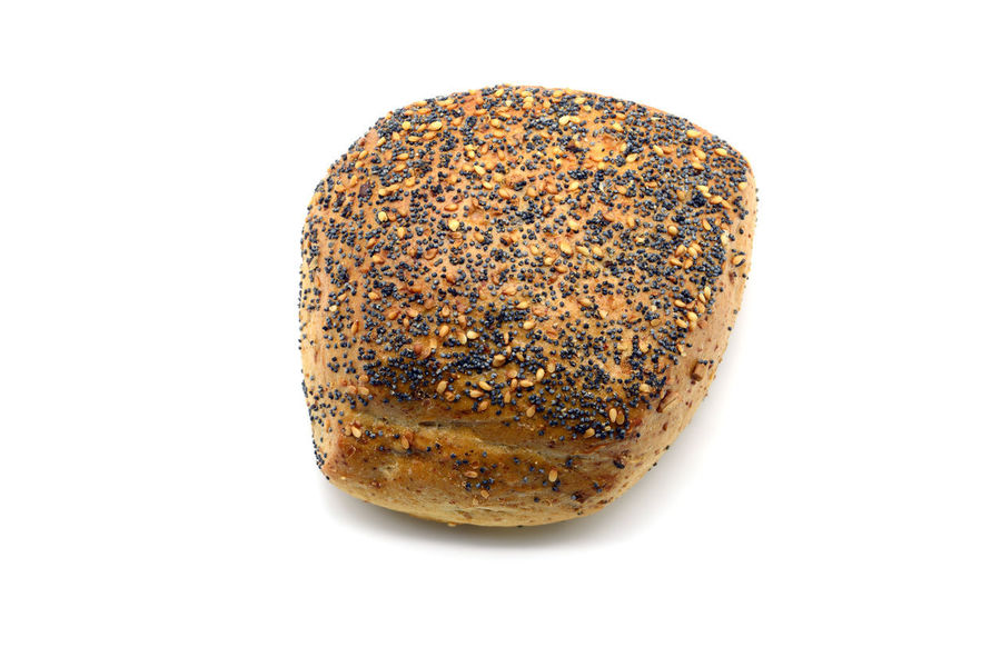 traditional german bread roll with poppy seeds and sesame corns on white isolated background Bread Roll Isolated Baked Bread Copy Space Food Food And Drink Isolated White Background Poppy Seed Ready-to-eat Seasame Seeds Single Object Snack Still Life Studio Shot White Background