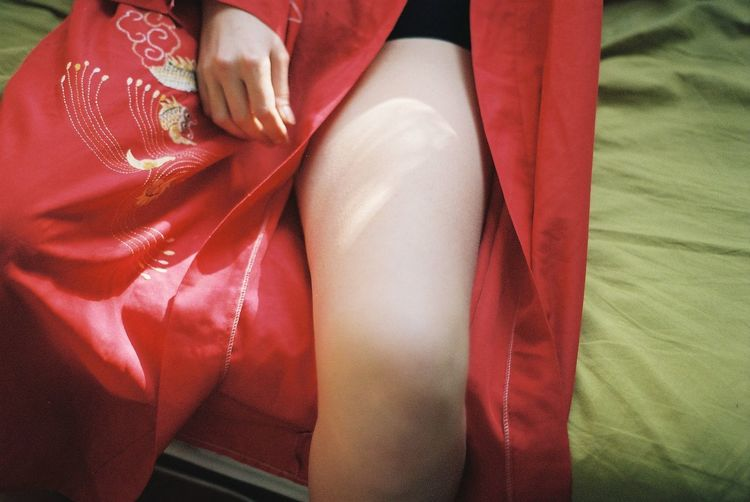 Film Film Photography Filmisnotdead 35mm Film Red Real People Human Body Part Women One Person Low Section Midsection Human Leg Body Part Adult Sitting Indoors  High Angle View Hand Relaxation Clothing Lifestyles
