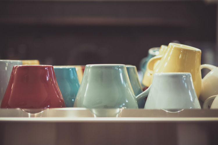 A lot of cups ☕️ Arrangement Ceramics Choice Close-up Coffee Cup Cup Food And Drink Group Of Objects In A Row Mug Shelf Side By Side Tea Cup Tray