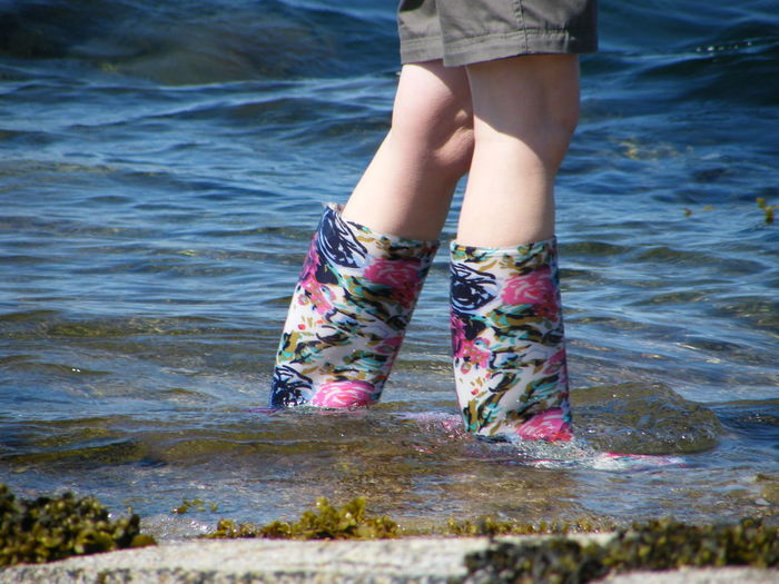 Adult Adults Only Close-up Day Human Body Part Human Leg Leisure Activity Lifestyles Low Section Nature One Person One Woman Only Only Women Outdoors Paddling People Real People Sea Shore Standing Water Wellies  Wellington Boots Women Sommergefühle