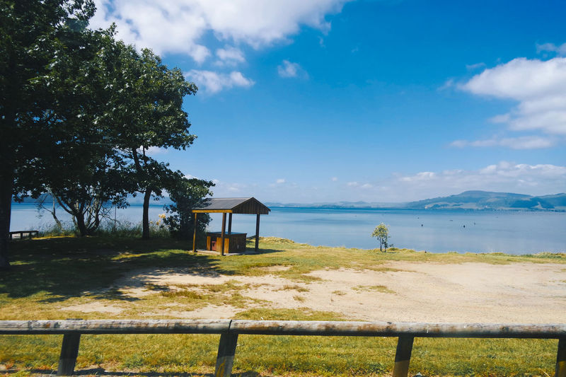 By the lake of Rotorua Photography Photograph Photo View Scenery Sea Tree Beach Sky Water Cloud - Sky Tranquility Day Outdoors Nature Vacations Beauty In Nature No People Horizon Over Water Travel Destinations Landscape Scenics Sand