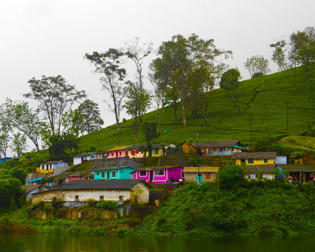 Tea Plantation Valparai Green Landscape Tea Tea Estate Plantation Plantations Cool Multi Colored House Home Colony Shed Worker's Home Lake Lake Side Text Water Lake Forest Nature No People Sky