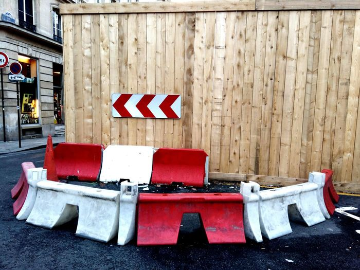 Showcase March Urbanphotography Road Signs Deviation Bifurcate Wood Panel Paris, France  Streetphotography Up Close Street Photography The Street Photographer - 2016 EyeEm Awards My Commute Colour Of Life Minimalist Architecture