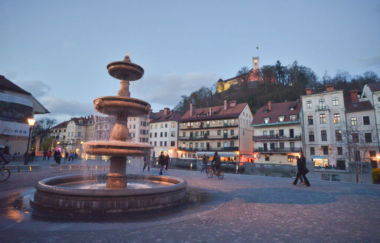 Architecture Beautiful Before Night Best  Blue Hour Building Exterior Built Structure Capital Castle City City Lights Dusk Dusk In The City Fountain Green Capital Green Capital Of Europe 2016 Ljubljana Ljubljana Castle Ljubljana, Slovenia Ljubljanica Ljubljanicariver Battle Of The Cities