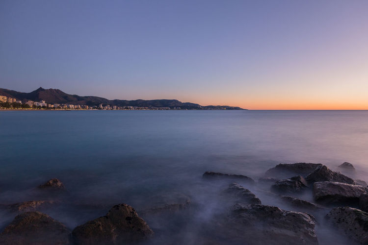 Benicasim Benicassim Mediterranean  Nature SPAIN València Beach Beauty In Nature Blue Castellón Clear Sky Day Horizon Over Water Landscape Mountain Nature No People Ocean Outdoors Rock - Object Scenics Sea Sky Sunset Tranquil Scene Tranquility Water Wave