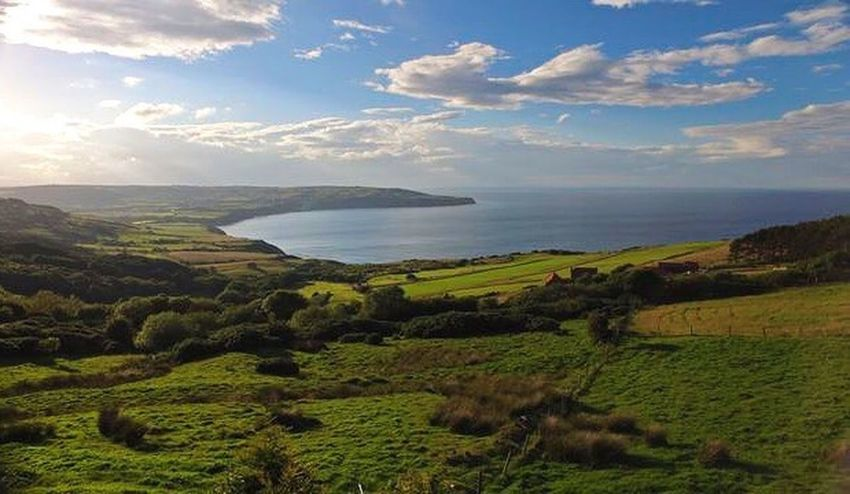 Sea Tranquil Scene Scenics Tranquility Beauty In Nature Landscape Sky Non-urban Scene Grass Idyllic Seaview Seaside From Above  Drone  Coastal View Phantom Cloud - Sky Remote Mountain Green Cloud Robinhoods Bay Coast Fields Phantom