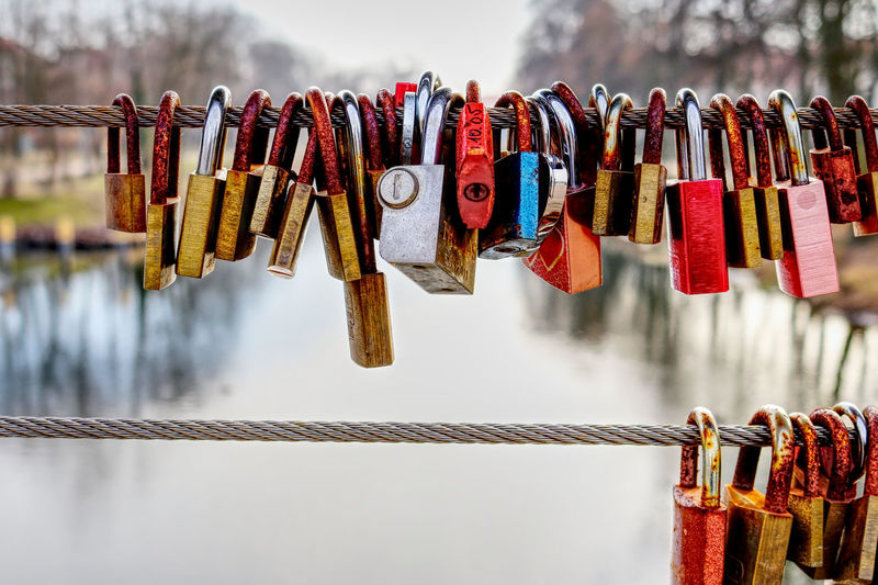 EyeEm Best Shots EyeEm Gallery Locker Room Locks Close-up Day Focus On Foreground Hanging Hope Large Group Of Objects Lock Love Lock Luck Metal Multi Colored No People Outdoors Padlock Protection Railing Safety Security Sky Variation Water