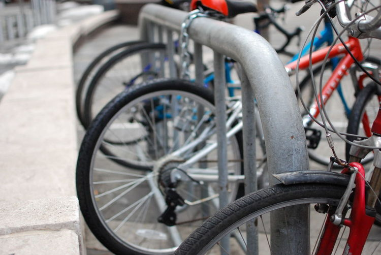 Close-up of bicycle in parking lot