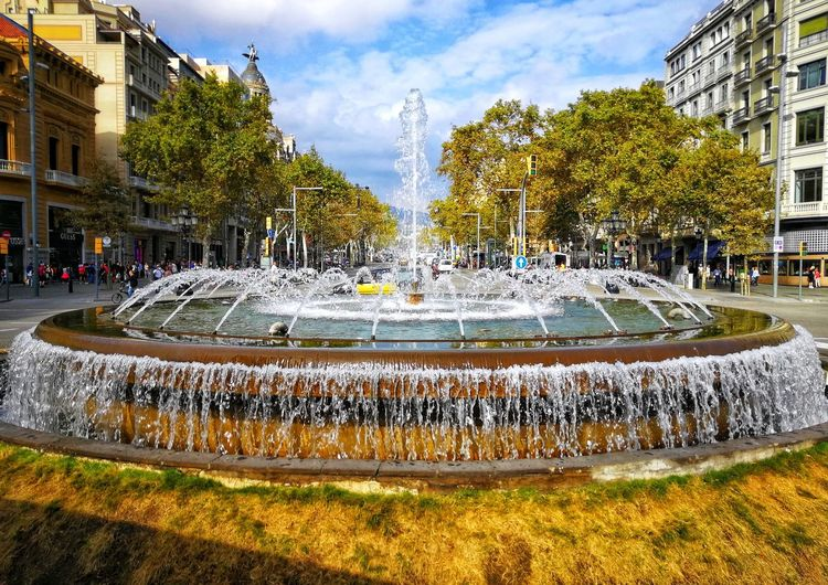 Fountain Outdoors Cloud - Sky Architecture Barcelona Streets Of Barcelona