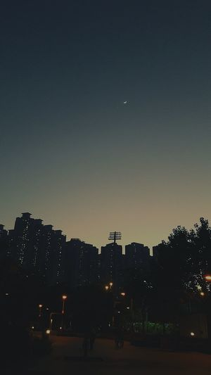 Sky Illuminated Night Silhouette Outdoors Sunset Moon Stars Beauty In Nature City No People Architecture Buildings Hang Hau