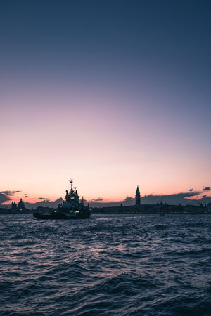 Beauty In Nature Clear Sky Copy Space Mode Of Transportation Nature Nautical Vessel No People Orange Color Outdoors Passenger Craft Sailing Scenics - Nature Sea Silhouette Sky Sunset Tranquil Scene Transportation Venice Water Waterfront