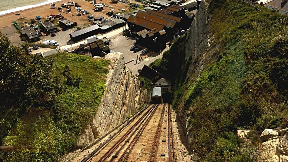 High Angle View Railroad Track Rail Transportation No People Hastings Cliff Railway