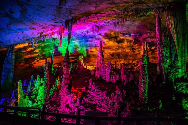 Illuminated Nature Indoors  Cave Cavern China Hunan ZhangjiajieNationalPark HuangLongCave UNESCO World Heritage Site