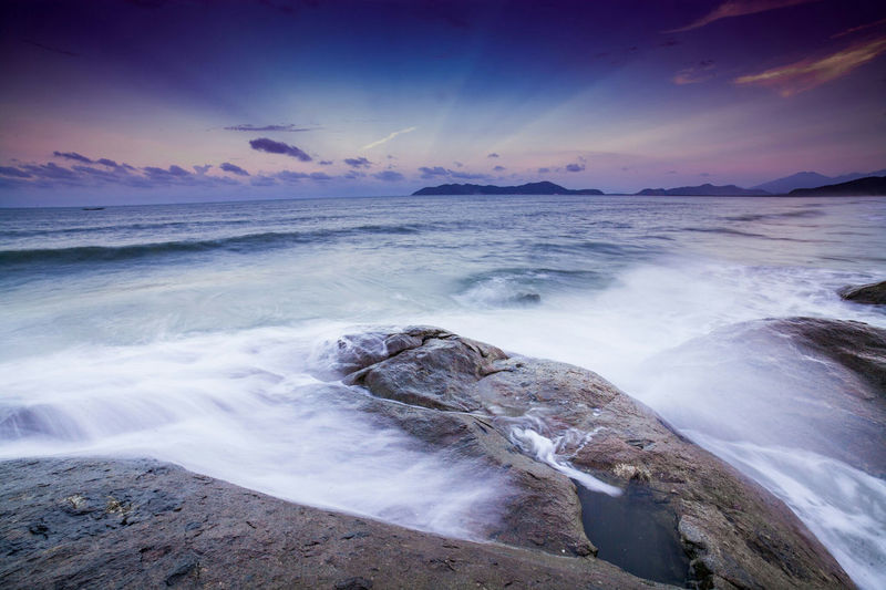 Sea Sky Cloud - Sky Blue Landscape Wave Dramatic Sky Beauty In Nature Sea And Sky Seascape Seascape Photography Long Exposure Longexposurephotography Longexposure Rocks And Water Sunset_collection Sunset Vietnam Lăng Cô Lang Co Beach South East Asia Central Vietnam