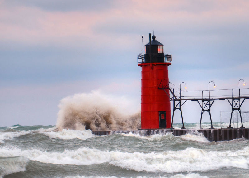 Architecture Crashing Danger Direction Guidance Lighthouse Motion Nature Power In Nature Protection Railing Red Safety Scenics Sea Security Shore Sky South Haven Pier Storm Surf Tower Water Wave