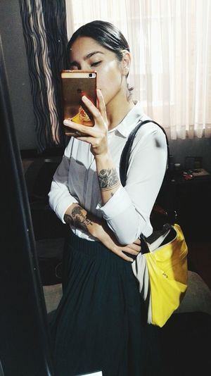 moi Tattoo Tatooedgirl Skirt Outfit Bogotá Colombia Young Women Portrait Window Personal Perspective Pretty Posing Cropped Human Finger Wearing