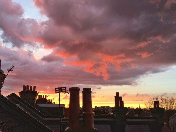 Sunset And Clouds  Rooftop View  Rooftop Sunset Photo London Tooting Broadway Mary Poppins Chimney Stacks Silhouettes Of A City Chimney Tops Antenna Aerial View Weather Clouds And Sky Here Belongs To Me Things I Like sunsets from my bedroom window. We don't see them often in London, but when we do, they are spectacular. Showcase April Aerial