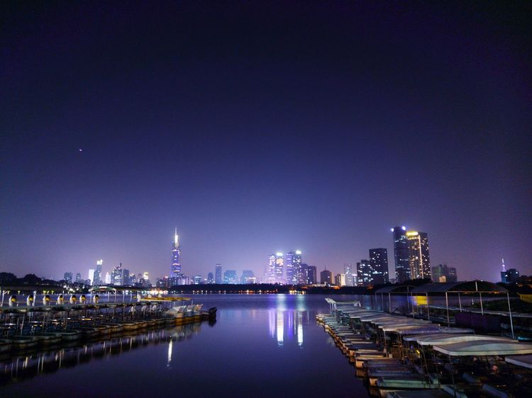 Night City Lights City Skyline City Park Skyscraper Urban Skyline Light Water Reflection In The Water Buliding Purple Purple Sky Nanjing China Xuanwu Lake Cold Weather Lonely Autumn Light Mobile Phone HTC HTC U 11 The Great Outdoors - 2017 EyeEm Awards