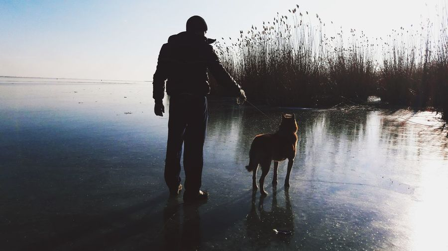 Silhouette Man With Dog On Frozen Lake
