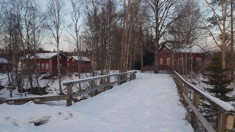 Snow Winter Red House Compound Bridge