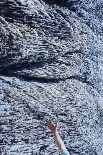 Hand Pattern Salt Salt Mountain Textured  Human Hand Full Frame Backgrounds Close-up Rough Force Arid Surface Cracked