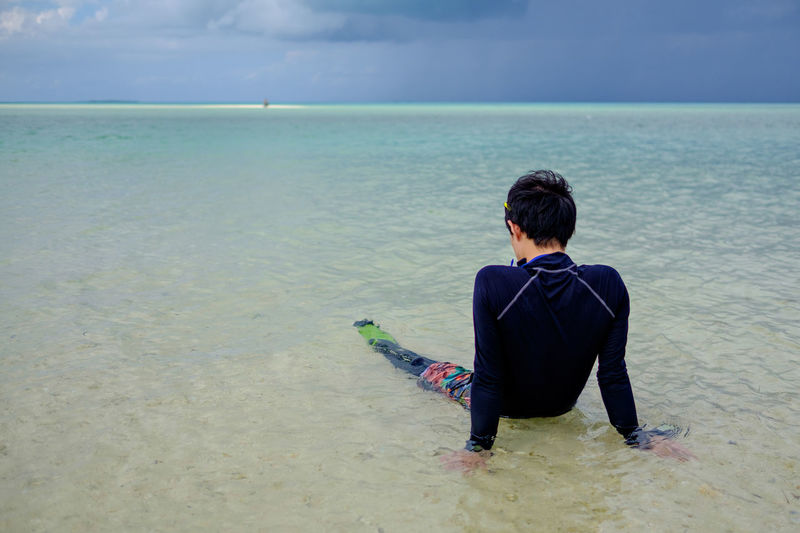 Rear View Of Man Sitting On Shore