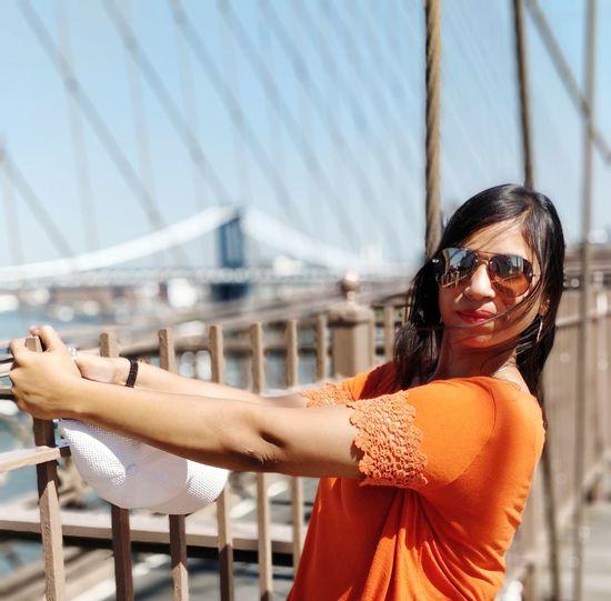 pretty as a peach! Brooklyn Bridge / New York EyeEm Selects Portrait City Smiling Happiness Women Cheerful Beautiful Woman Bridge - Man Made Structure Sunglasses Beauty