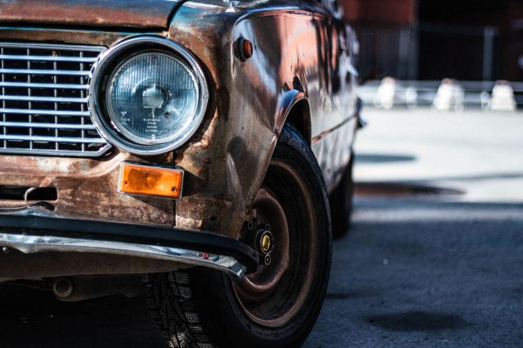 Rusty Land Vehicle Car Headlight Bumper Vintage Car Parking Scrap Metal Deterioration EyeEmNewHere