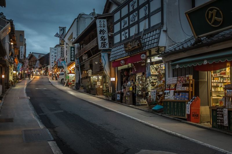 Stores in city street during dusk