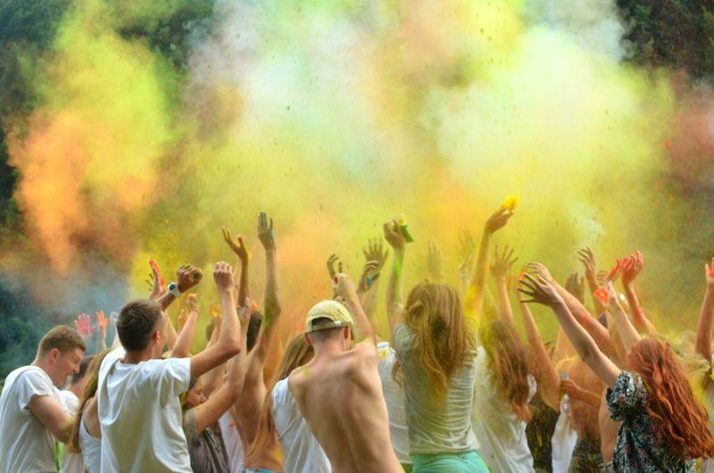 People Enjoying With Powder Paint During Holi