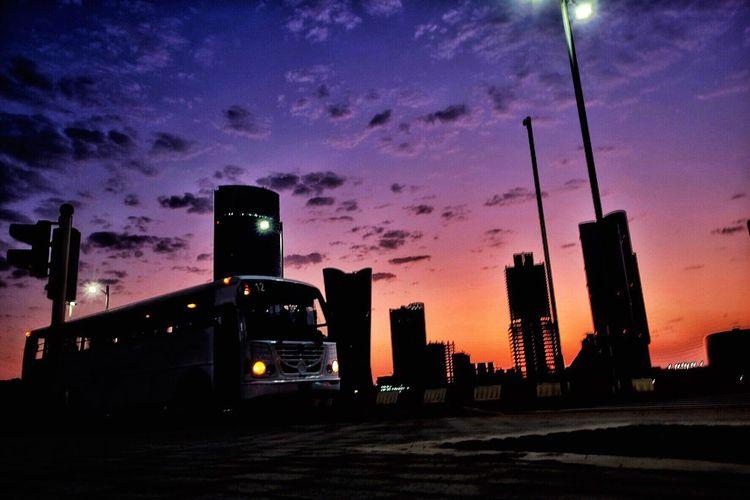EyeEmNewHere Sunrise Silhouette Bus Service AlReemIsland-Abudhabi Clouds And Sky FujifilmX70 Fujifilmme