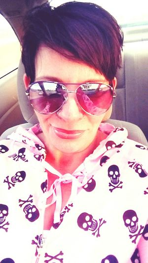 Me & my favorite hoodie Bucks County Pennsylvania USA Self Portrait Cool Shades Skulls And Bones My Quirky Style Selfie Self Portrait Photography Pink Lipstick  Glasses Nose Ring Lipstick Digital Camera Head And Shoulders Cellphone Inner Power
