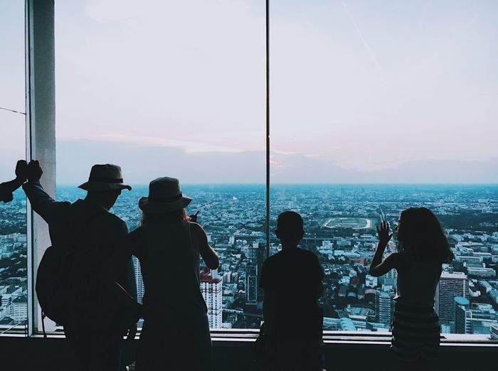 Family Real People Silhouette Men Standing Women Leisure Activity Sky Lifestyles Togetherness Day Friendship Outdoors Nature Adult People Family Children Childhood Kids Travel Highangel City Building Bangkok Thailand.