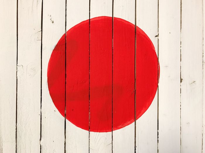 Japan Japanese Flag Red Dot  Red Wood - Material No People Day Built Structure Textured  Close-up Outdoors Architecture