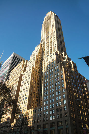 Low angle photo of the Rockerfeller Centre Autumn In New York City Fall In New York City Manhattan New York New York City Architecture Blue Building Exterior Built Structure City Cityscape Clear Sky Day Low Angle View Modern No People Outdoors Rockefeller Centre Sky Skyscraper Sunlight Tall Tall - High Tower Travel Destinations