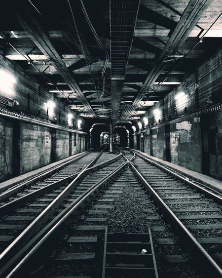 Railway tracks at night